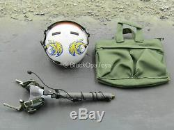 1/6 Scale Toy Combat Aircrew Pilot White Flight Helmet withOD Green Carry Bag