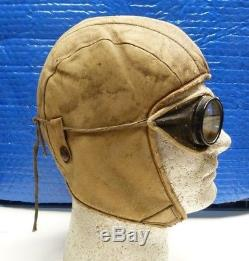 1920-30s Sculty Early Pilots Air Mail Leather Flight Helmet & Goggles -shl14
