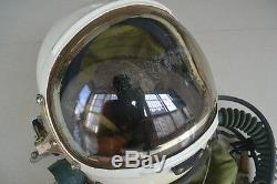 Air Force MiG Jet Fighter Aviator Pilot Flight Helmet, Drop-down Glass face