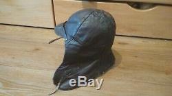 Antique leather flight cap, pilot's helmet 1920s USSR