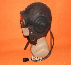 Flight Helmet Fighter Pilot Flight Leather Helmet Goggles