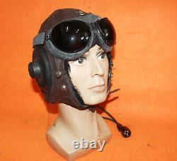 Flight Helmet Fighter Pilot Flight Leather Helmet Goggles 1# XXL
