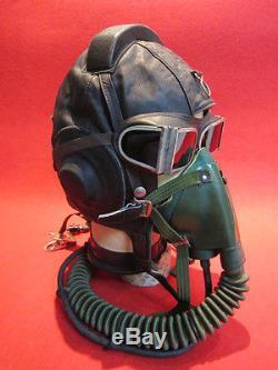 Flight Helmet Fighter Pilot Flight Leather Helmet Oxygen Mask Goggles 010278