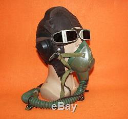 Flight Helmet Fighter Pilot Flight Leather Helmet Oxygen Mask Goggles 060311