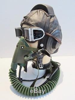 Flight Helmet Fighter Pilot Flight Leather Helmet Oxygen Mask Goggles NEW 1# 1#