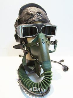 Flight Helmet Fighter Pilot Flight Leather Helmet Oxygen Mask Goggles Size2#