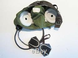 Flight Helmet Fighter Pilot Flight Leather Helmet Oxygen Mask Goggles T#
