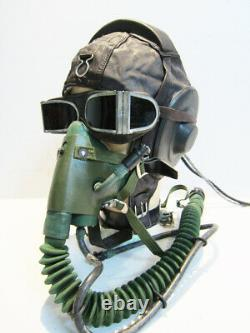 Flight Helmet Fighter Pilot Flight Leather Helmet +Oxygen Mask +Goggles T#