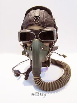 Flight Helmet Fighter Pilot Flight Leather Helmet Oxygen Mask YM-6502 Goggles