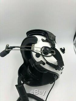 Helicopter Helmet Pilot Built in Microphone White HSL Flight Helmet Large