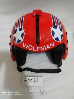 Hgu 33 Style Topgun Wolfman Flight Helmet / Aviator Fighter Pilot Repro