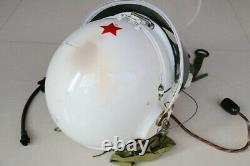 High Altitude MiG-21 Fighter Pilot Flight Helmet Tk-1 Drop Down Black Sunvisor