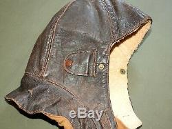 Imperial German Army WW1 AIR SERVICE PILOT SHEEPSKIN LINED LEATHER FLIGHT HELMET