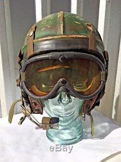 KOREAN WAR NAVY GENTEX H-4 FLIGHT HELMET EARLY JET FIGHTER PILOT! Size 7 3/4