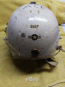 Korean War US Air Force USAF P-4A Pilot Flight Helmet White Visor MicCord L USED
