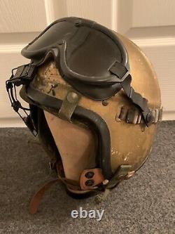 Korean War USN Aviator Pilot H-3 Flight Helmet with Liner & Goggles