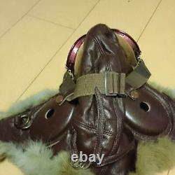 Leather Pilot Flight Helmet Goggle Set Army Military with Fur Retro from Japan