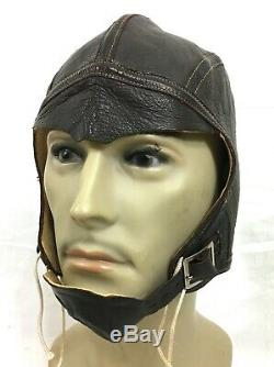 MINT WWII US NAVY Leather Helmet NAF 1092 flight USN Pilot Headgear #A2