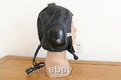 Militaria aviation fighter pilot aviator leather flight safety helmet, eyewear
