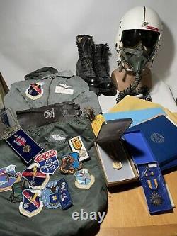 Named Vietnam B-52 Pilots Grouping Medals Helmet Boots Papers Flight Suits