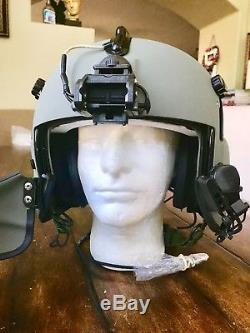 New Hgu56 Gentex Flight Pilot Helmet & Anvis Nvg, Mfs, Cep Ml11, Cobra MIC Lg