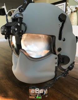 New Hgu56 Gentex Flight Pilot Helmet & Anvis Nvg, Mfs, Cep Ml11 Ir, Cobra MIC Lg
