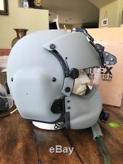 New Hgu56 Gentex Flight Pilot Helmet, Anvis Nvg, Mfs, Tpl, Cep Light MIC 56 Lg