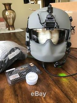 New Hgu56 Gentex Flight Pilot Helmet, Anvis Nvg, Mfs, Tpl, Cep Light MIC 56 Med