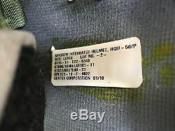 New Hgu56 Gentex Flight Pilot Helmet & Nvg, Mfs Shield Mask, Cep Lg Hgu 56