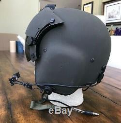 Nos Rare Black Hgu56 Gentex Flight Pilot Helmet & Lip Light Ml-8 Hgu 56