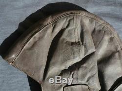 Original WW2 Vintage Germany Luftwaffe Flight Pilot Leather Helmet Hat! (No. P&K)