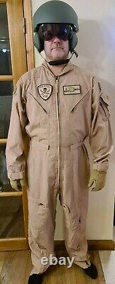 Pilot Helmet with Military flight suit, flight gloves and combat survival vest