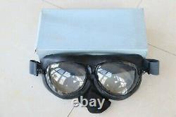 Rare Vintage 1962's Air Force Pilot Leather Flight Helmet, Clear Goggles