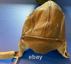 Rare WW2 U. S. Army Air Force Type B-6 Leather Sheepskin Pilot's Flight Helmet