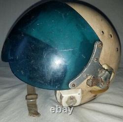 Russian Soviet pilot flight helmet Air Force ZSH-5A early blue visor 1960th