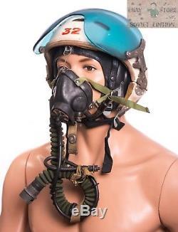 Russian Soviet pilot flight helmet ZSH-3+oxygen mask+leather helmet 3pcs in set