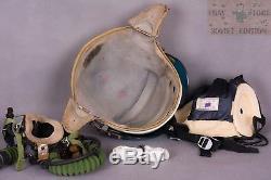 Russian Soviet pilot flight helmet ZSH-3+oxygen mask+leather helmet 4pcs in set