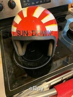 TOP GUN Sundown FLIGHT HELMET Custom Painted Bike PILOT NAVAL AVIATOR USN NAVY
