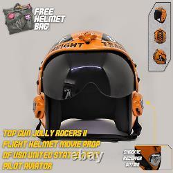 Top Gun Jolly Rogers 2 Flight Helmet Prop Pilot Naval USN Navy Chrome Receiver