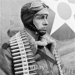 US Army AAF WW2 PILOT REDSKIN B-5 SHEEPSKIN LEATHER FLIGHT HELMET X-LARGE RARE