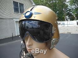 US Navy APH-5 Single Visor Pilot Flight Helmet Size Med MS22001 Oxygen Mask