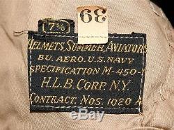 US Navy USMC Marine WW2 F4U CORSAIR F6F HELLCAT PILOT M-450 KHAKI FLIGHT HELMET