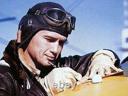 US Navy USMC Marine WW2 PILOT TRAINEE GOSPORT TUBES BROWN LEATHER FLIGHT HELMET