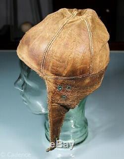 US WW1 Aviator Pilot Leather Flight Crash Helmet. Good Condition. Small. Nice