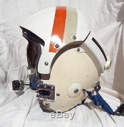 USN USMC Pilot Flight Helmet Type APH-6D Dual Visor, Large, 1960's, Boom Mike
