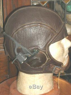 Us Navy Ww2 1092 Flight Pilot Helmet Sz 7 1/4 Th 37 Repro Reciever & Loom