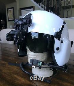 Used Civilian Hgu56 Gentex Flight Pilot Helmet Qr Nvg, Ir Lip Light Large Hgu 56