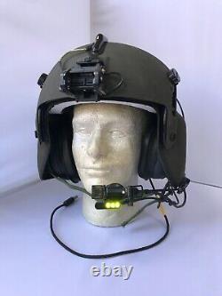 Used Large Hgu56p Helicopter Pilot Flight Helmet, Lip Light, Nvg Mount Hgu 56