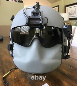 Used Large Hgu56p Helicopter Pilot Flight Helmet, Mfs Lip Light Nvg Mount Hgu 56
