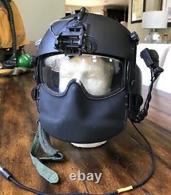 Used Med Hgu56p Helicopter Pilot Flight Helmet, Mfs Lip Light Nvg Mount Hgu 56